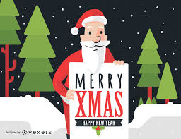 santa with merry sign illustration vector