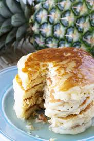 pineapple pancakes with coconut syrup