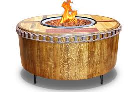wine barrel fire table vin de flame the moderna wine barrel fire pit table 40 or 60