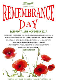 remembrance day at surfers rsl surfers paradise