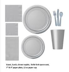 silver gray tableware plastic and paper plates napkins cups