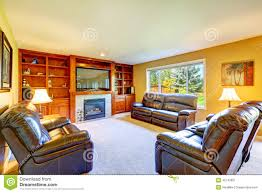 family room with rich leather furniture set stock photo image
