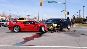 crashed red lamborghini ferrari f40 loses head butting contest with dodge dart on test drive