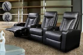 coaster 600130 3 pc black leather like vinyl theater seating