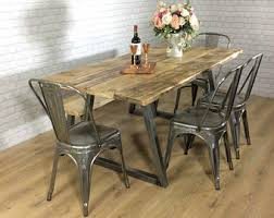industrial kitchen table furniture reclaimed dining table etsy uk