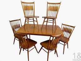 dining chairs picked vintage mcm blonde splayed leg table idolza