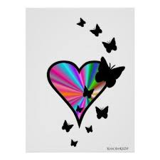 rainbow and butterfly poster individual customized unique