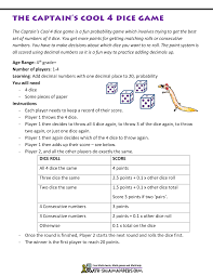 Identity Property Of Multiplication Worksheets Math Games Using Dice