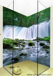 3d wallpaper waterfall stream parrot birds wall murals bathroom