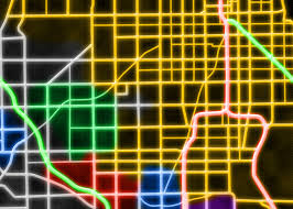 Map Of Chicago Streets by Chicago Street Map In Neon Colors Poster Prints