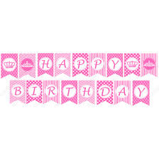 pink princess printable diy happy birthday banner
