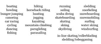 english vocabulary gerunds used for sports english teacher melanie