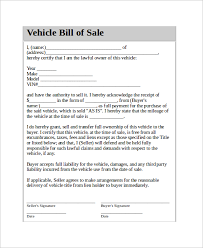 used vehicle or automobile bill of sale contract form template