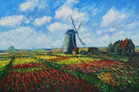 tulip field with the rijnsburg windmill by claude monet for sale