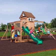 Backyard Adventures Price List Backyard Discovery Montpelier Cedar Wooden Swing Set Walmart Com