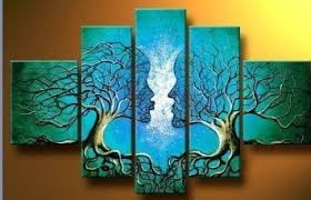 santin wood framed on the back wall blue tree human