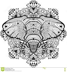 painted elephant on a background of circular pattern coloring