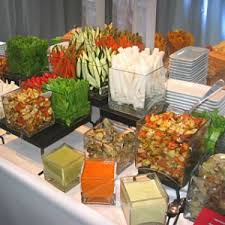 veggie buffet with different pasta salads love this idea party