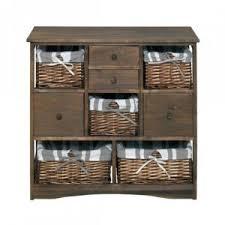 panier cuisine mobili armoire commode 4 tiroir 5 panier bois osier marron