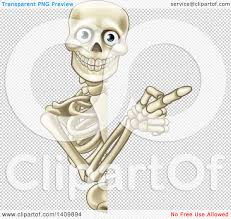 halloween skull transparent background clipart of a happy human skeleton pointing around a halloween sign