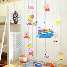 Peppa Pig Room Decor Pink Cute Peppa Pig Wall Stickers George Cartoon Home Decor For