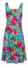 watercolors tropical hawaiian print sun dress in blue womens