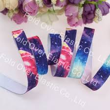 galaxy ribbon fashion 5 8 rainbow galaxy printed fold elastic foes ribbons
