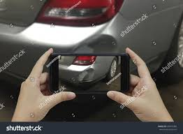 smart car crash hand holding smart phone take photo stock photo 639419368