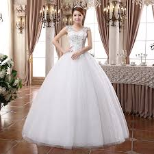 white wedding gowns bridal white v neck solid floor length wedding dress for