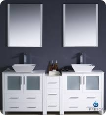 Fresca Torino FVNWHVSL Modern Double Sink Bathroom - Bathroom vanities double vessel sink