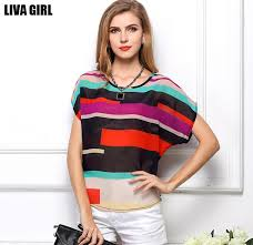 s plus size blouses 2018 plus size bat tops rainbow striped printed chiffon