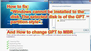 cannot format gpt drive windows cannot be installed to this disk the selected disk is of