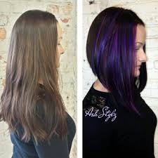 medium length angled hairstyles long angled bob with purple dimensions news bobs salons and