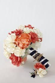 Coral Boutonniere Nautical Paper Bouquet U0026 Boutonniere U2013 Peonies U0026 Roses In Ivory