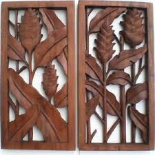heliconia set 2 flower wood carved wall hanging carving