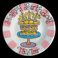 personalized birthday plate a personalized painted happy birthday cake ceramic plate by