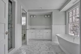 Black And Gray Bathroom Cottage Master Bathroom With Wall Sconce Flat Panel Cabinets