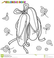 ballet shoes coloring page stock vector image 54812244