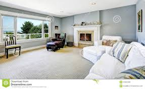 Blue Livingroom Light Blue Living Room With White Sofa And Fireplace Stock Photo