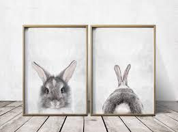 Bunny Nursery Decor Nursery Wall Nursery Decor Gray Rabbit Print Bunny Vision Fleet