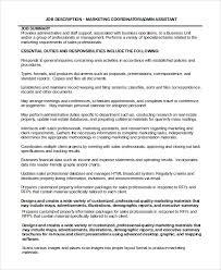Resume Sales Coordinator Sample Marketing Coordinator Job Description 9 Examples In