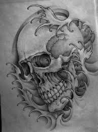 skull japanese waves ink trails forum gustos tattoos
