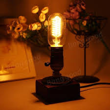Edison Table Lamp Loft Vintage T45 Edison Bulb Table Lamp Water Pipe Light Home Bar