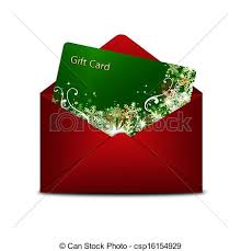 christmas gift card in red envelope isolated over white clip
