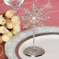 bridal bouquet holder table clip 10pcs silver plated snowflake name number menu table place card
