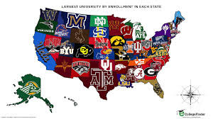 American University Campus Map Map Shows The University With The Most Students In Each State