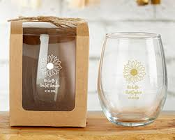 sunflower wedding favors personalized sunflower 9 oz stemless wine glass my wedding favors