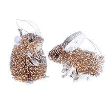 glittery bristle woodland animal decorations gisela graham