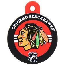 chicago blackhawks hockey puck id tag athletic pets