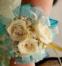 turquoise corsage dill s ivory and turquoise wrist corsage